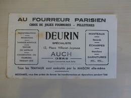 AUCH (Gers) Au Fourreur Parisien DEURIN, Buvard Ancien, Ref 1838 ; BU 04 - Blotters