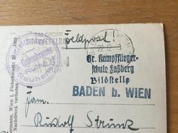 KR Deutsches Reich 1939 AK Rauheneck Von Der Feldpost Kampffliegerschule Faßberg Bildstelle Baden Bei Wien - Allemagne