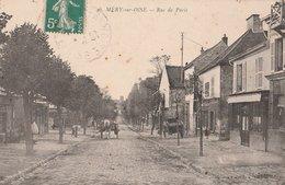 MERY-SUR-OISE.  Rue De Paris, Animée. Attelage. Magasins - Mery Sur Oise