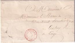 DDX 160 - La GAUME - Lettre FLORENVILLE 1855 (timbre Manque) Vers LEXHY Via FEXHE LE HAUT CLOCHER -  Origine Rare - Belgique