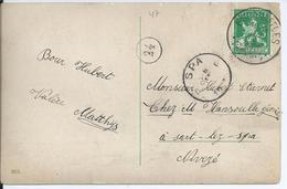 Fantasiekaart Met OCB 110 - Afstempeling ESCANAFFLES - COBA 50 - 1912 Pellens