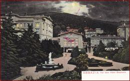 Opatija (Abbazia) * Hotel Stephanie, Park, Statue, Brunnen, Mond, Nachtbeleuchtung * Kroatien * AK2581 - Croatia