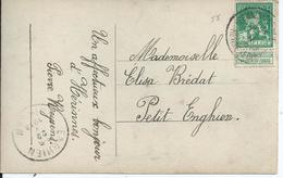 Fantasiekaart Met OCB 110 - Afstempeling HERINNES(ENGHIEN) - COBA 30 - 1912 Pellens