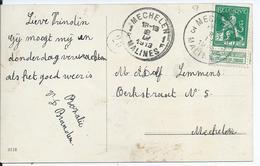 Fantasiekaart Met OCB 110 - Afstempeling MECHELEN 3 - COBA 30 - 1912 Pellens