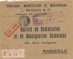 """1945 MADAGASCAR Griffe """" POSTE AÉRIENNE DIEGO SUAREZ TAXE PERÇUE 18F """" Affrt FORTUNE Lettre AVION Recommandée  > France - Madagascar (1889-1960)"""