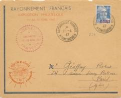 """GANDON 4f50 Surch ALGÉRIE Obl """" RAYONNEMENT FRANÇAIS CONSTANTINE 11/4/47 """" Seul Sur Lettre - Expo Philatélique - Lettres & Documents"""