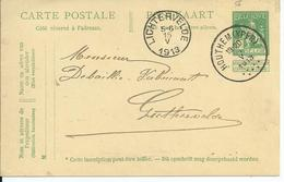 5c-postkaart - Afstempeling HOUTHEM(YPER) - COBA 30 - 1912 Pellens