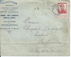 Brief Met OCB 118 - Afstempeling MELLET - COBA 30 (scheurtje In Brief) - 1912 Pellens
