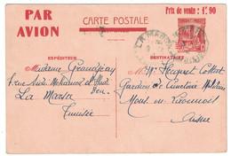 """1941 - ENTIER POSTAL """" PAR AVION """" Avec TIMBRE SURCHARGÉ PRIX DE VENTE 1F90 LA MARSA TUNISIE Pr MONS EN LAONNOIS AISNE - Covers & Documents"""