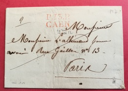Calvados-Lettre Avec Marque Linéaire Rouge P13P CAEN - Postmark Collection (Covers)
