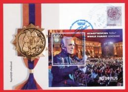 Armenien/Armenie/Armenia 2018, Charles Aznavour, SS, Postcard - Went By Registered Mail - Arménie