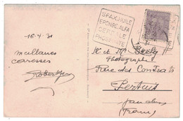 """1931 - OBLITERATION DAGUIN (2 FRAPPES) De SFAX """" HUILE EPONGE ALFA CEREALE PHOSPHATE """" Sur CARTE POSTALE CP Pour PERTUIS - Storia Postale"""
