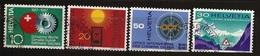 Suisse 1967 N° 791 / 4 O Sablier, Vieillesse, Fond, Panneau Routier, Tunnel, San Bernardino, Train, Chemin De Fer, Roue - Suisse