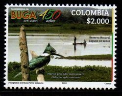 """A843D- COLOMBIA - 2020 - MNH - BUGA CITY  450 YEARS - SONSO LAKE AND BIRD """" MARTIN PESCADOR"""". - Colombia"""