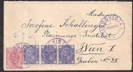 """Romania """"Spic"""" And """" Cifra"""" Mixed Franking Cover 1894 From Tirgovistea (purple Ink) To Wien Underfranked 24 Bani Unique! - 1881-1918: Charles Ier"""