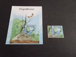 K31696 - Bloc And Stamp Used Cambodge 1998-   Butterflies - Papillions - Butterflies