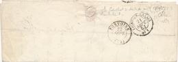 """1853 CàD """" LIGNE DE CALAIS N°1 """" AMBULANT LETTRE BEAUMONT S OISE > PONTOISE - Marcophilie (Lettres)"""