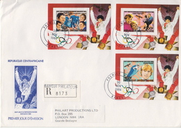 Postal History: Central Africa Olympic Games Set Of 6 SSs On 2 Registered Covers To England, Rare!!!! - Inverno1984: Sarajevo