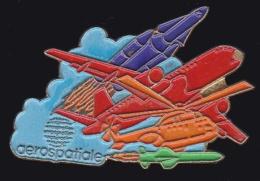 65066- Pin's-Aérospatiale.Espace.Fusée.Avion.signé EBC. - Espace