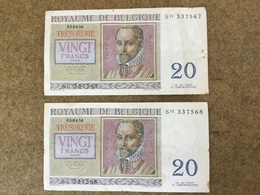 Belgique 20Frs   3-4-56 - [ 2] 1831-... : Reino De Bélgica