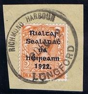 Ireland Longford 1922 Rubber Climax Datestamp RICHMOND HARBOUR LONGFORD 2 DEC.22 On Thom Rialtas 2d Die 2 - Irlande
