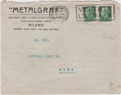 9361.   Busta Metalgraf Unione Arti Grafiche Su Metalli 1937 Mira - Annullo Regno - 1900-44 Victor Emmanuel III