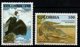 B070J-COLOMBIA- 1992 -MNH- MI#: 1869-1870 - FAUNA - CONDOR AND CROCODILE - Kolumbien