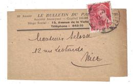 """1941 - TIMBRE MERCURE N° 412 SEUL Sur BANDE JOURNAUX ENTETE """" LE BULLETIN DU PALAIS """" CAD NICE WILSON ALPES MARITIMES - Marcofilia (sobres)"""