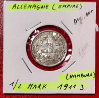 ALLEMAGNE  -- 1/2 MARK 1911 J - [ 2] 1871-1918 : Imperio Alemán