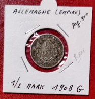 ALLEMAGNE  -- 1/2 MARK 1908 G - [ 2] 1871-1918 : Imperio Alemán
