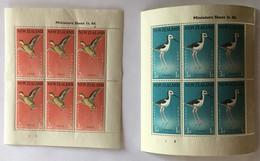 J51 – Timbres New Zealand 1959 Birds YT 5 (**) MNH & 6 (*) MH - 2 Teal Health Charity Miniature Sheets (40 Euros) - Blocchi & Foglietti