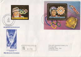 Postal History: Central Africa Olympic Games Gold Foil Perf+imperf Stamps + 3 SSs On 2 Registered Cover To England, Rare - Inverno1984: Sarajevo
