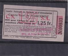 Belg Necéccité  Plancenoit  1;25 Fr Rare - Zonder Classificatie