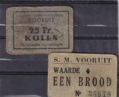 Belg Necéccité  Noodgeld   S. M VOORUIT  BROOD En 25 Kilo Kolen, Charbon - Belgium