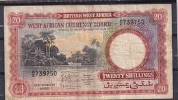 BWA British West Africa  20 Shillings  1953 Fine - Bankbiljetten