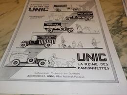 ANCIENNE PUBLICITE LA REINE DES  CAMIONNETTE UNIC   1928  HENNESSY - Trucks