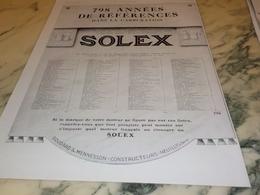 ANCIENNE PUBLICITE 798 ANNEES DE REFERENCES  SOLEX 1928 - Vervoer
