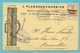 BZ 13 Op Kaart Stempel LUTTICH, Geillustreerd  J.PLOMDEUR-FOURNIER / SERRURERIE POUR BATIMENTS / LIEGE - Guerre 14-18