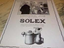 ANCIENNE PUBLICITE INDUSTRIEL AVISE  CARBURATEUR SOLEX 1928 - Vervoer
