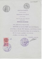 Certificat Domicile VERNEY Jean Louis Au MANS (SARTHE) 1939 Papier Timbré Et Fiscal - Fiscaux