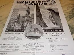 ANCIENNE PUBLICITE ETATS UNIS CANADA  CROISIERE FABRE  1928 - Barcos