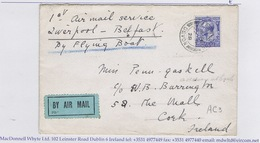 """Ireland Airmail 1928 """"1st Airmail Service Liverpool-Belfast By Flying Boat"""" Addressed To Cork And Returned To Ashburton - Airmail"""