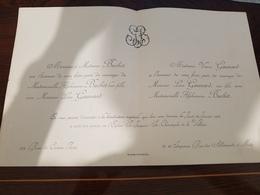 FAIRE-PART MARIAGE ALPHONSINE BOUCHET  LEON GAUNARD METZ PARIS 22/1/1903EGLISE ST. JACQUES-ST. CHRISTOPHE DE LA VILETTE - Mariage
