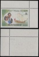 MONTSERRAT 1982 Diana's Wedding 75c/3$ H.M.Yacht Britannia Ship CORNER Yacht ERROR:NO OVPT OHMS Ghost Rev[Fehler,erreur] - Montserrat