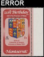 MONTSERRAT 1983 Diana Birthday Coat Of Arms $1 OHMS.MARG.ERROR:INV.OVPT. - Montserrat