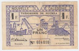 New Caledonia 1 Franc 1942 VF Pick 52 - Nouméa (Nuova Caledonia 1873-1985)