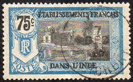 Inde Obl. N°  39 - Temple Près De PONDICHERY 75c Bleu Et Noir - Indien (1892-1954)
