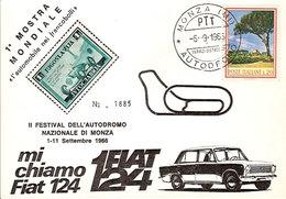 """(CTF).1^ Mostra Mondiale Filatelica """"Monza Autodromo"""".Annullo Speciale Su Cartolina Del 6-9-1966 (33-a20) - Timbres (représentations)"""
