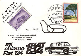 """(CT).1^ Mostra Mondiale Filatelica """"Monza Autodromo"""".Annullo Speciale Su Cartolina Del 7-9-1966(34-a20) - Grand Prix / F1"""