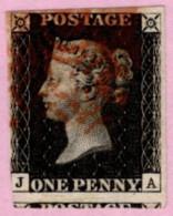 GBR SC #1 U (J,A) 1840 Queen Victoria 2+ Margins W/red Cancel CV $320.00 - 1840-1901 (Victoria)